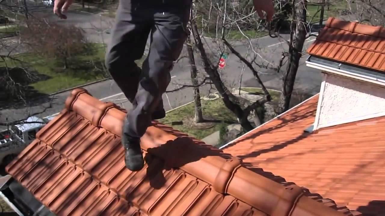 walking on roof tiles