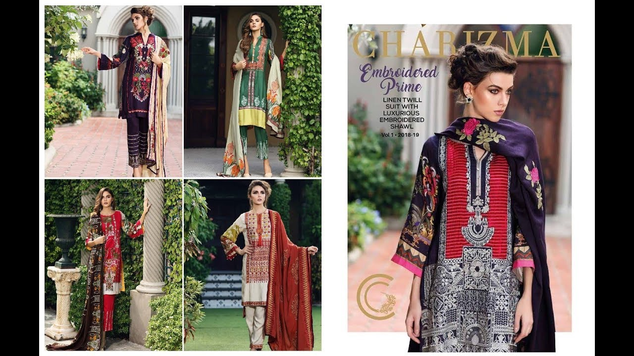 1d6983afed Charizma Twill Linen Suit With Embroidered Shawl Vol-01 Winter Collection  2018-19