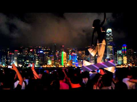 Symphony of light in Hong Kong seen from avenue of stars