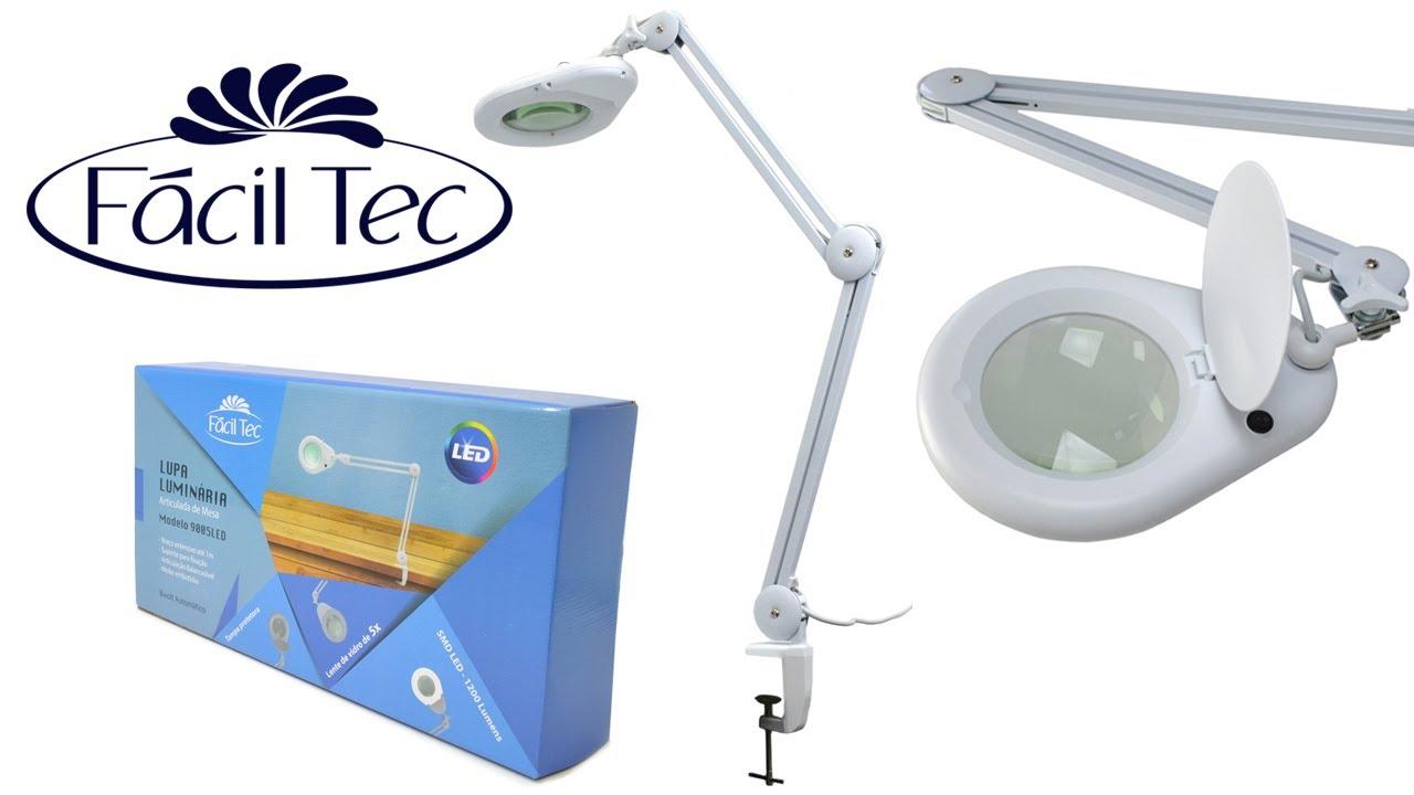 e4760028d14a3 Lupa Luminária LED 5X de Mesa da Fácil Tec - YouTube