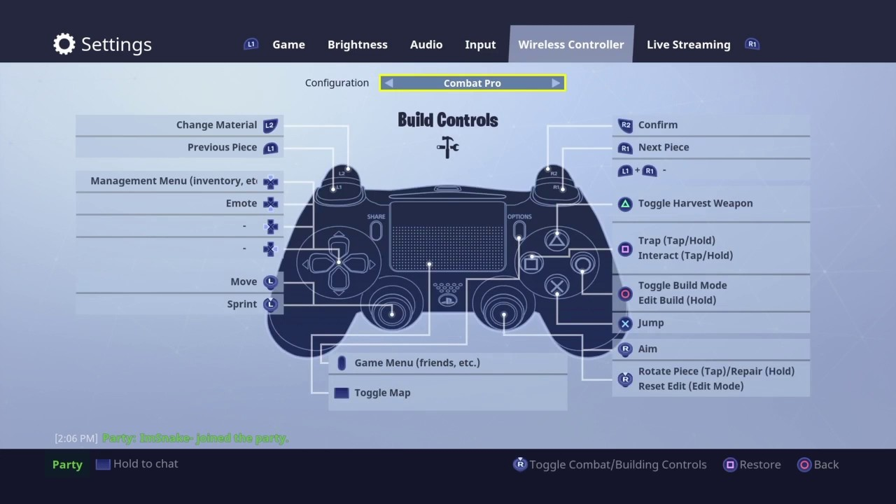 how to change your controls back to regular setting l fortnite new update - fortnite ps4 controller steuerung