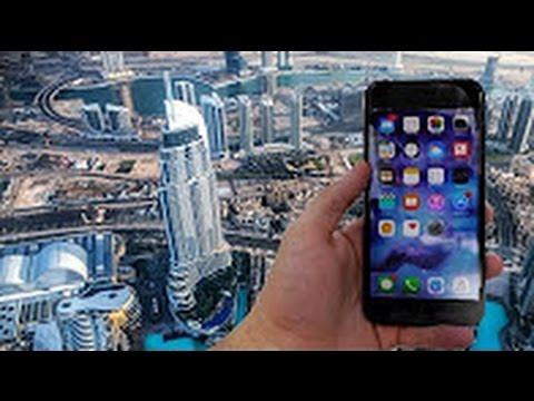 رمي ايفون 7 بلس من فوق برج خليفة