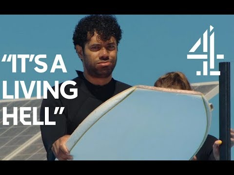 Richard Ayoade  Surfing? TERRIBLE idea. Jessica Knappett's okay, though.  Travel Man