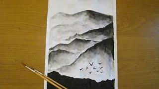 Как нарисовать горы черной акварелью.(Подписывайтесь на мой канал - https://www.youtube.com/channel/UCGncC-2NDn1WVcJOO9xLGoQ Добавляйте в друзья ВК - http://vk.com/id268631218 и ..., 2014-12-10T18:16:29.000Z)