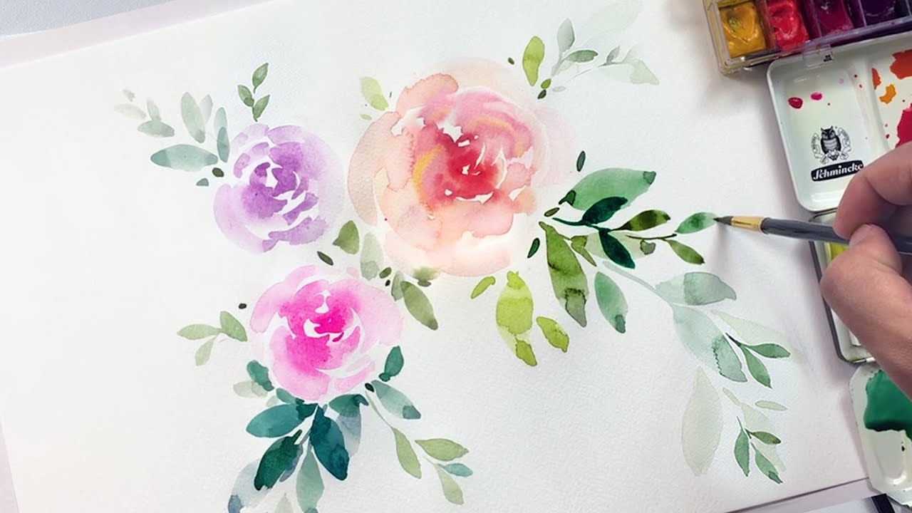 Easy Watercolor Flowers Tutorial Relaxing Demonstration Youtube