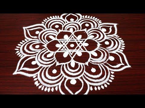 Simple and easy rangoli design with 3X2 dots - Margazhi kolam design for Pongal - big dhanurmasam
