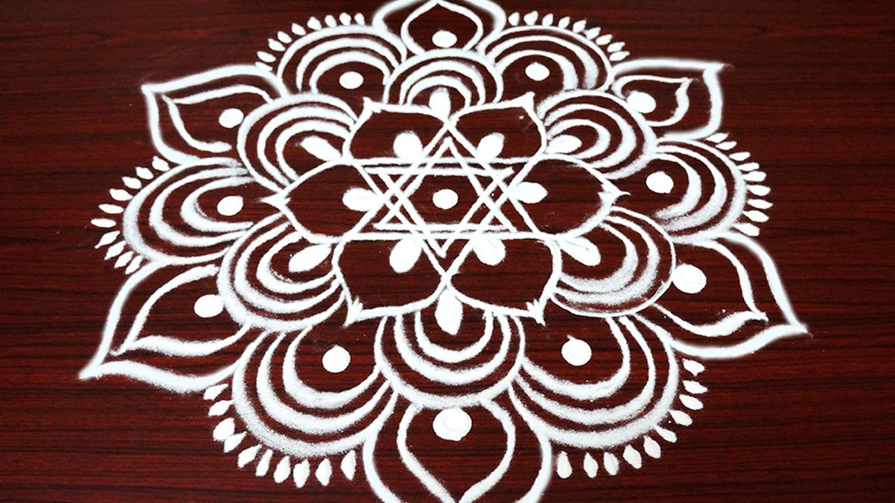 simple and easy rangoli design with 3x2 dots margazhi kolam design