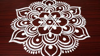 Simple and easy rangoli design with 3X2 dots - Margazhi kolam design for Pongal - big dhanurmasam