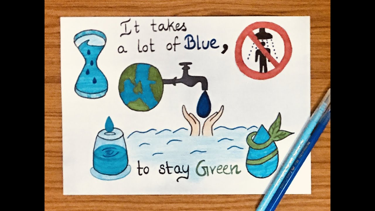 water conservation drawing for school project water conservation poster making idea for kids