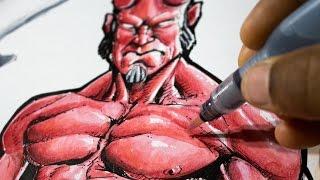 Coloring Hellboy - Watercolor, Color Pencils