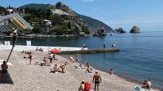 Гурзуф, Крым июнь 2020. Обзор пляжей, отдых, море. Море +20.