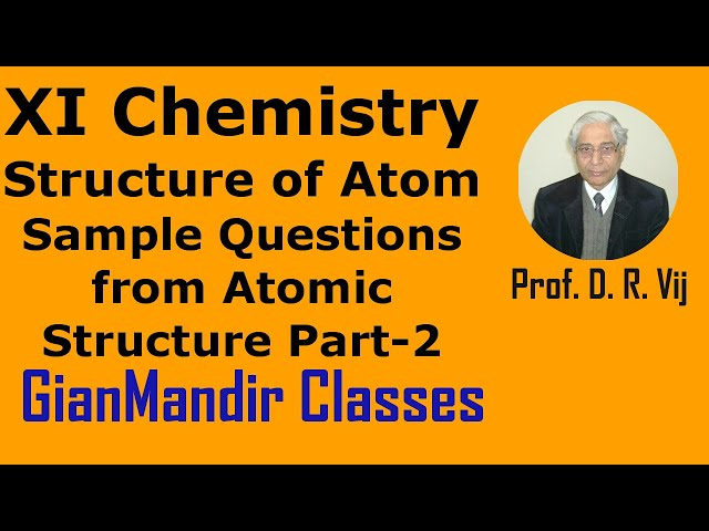 XI Chemistry | Structure of Atom | Sample Questions from Atomic Structure Part-2 by Ruchi Ma'am