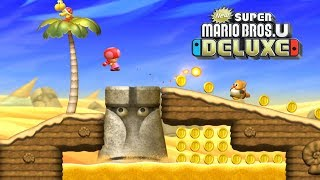 New Super Mario Bros U Deluxe - Gameplay Walkthrough Part 7 - Layer Cake Desert 1 - Stone Eye Zone