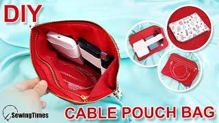 DIY L-SHAPED CABLE POUCH | multi purpose pouch | cable organizer bag [sewingtimes]