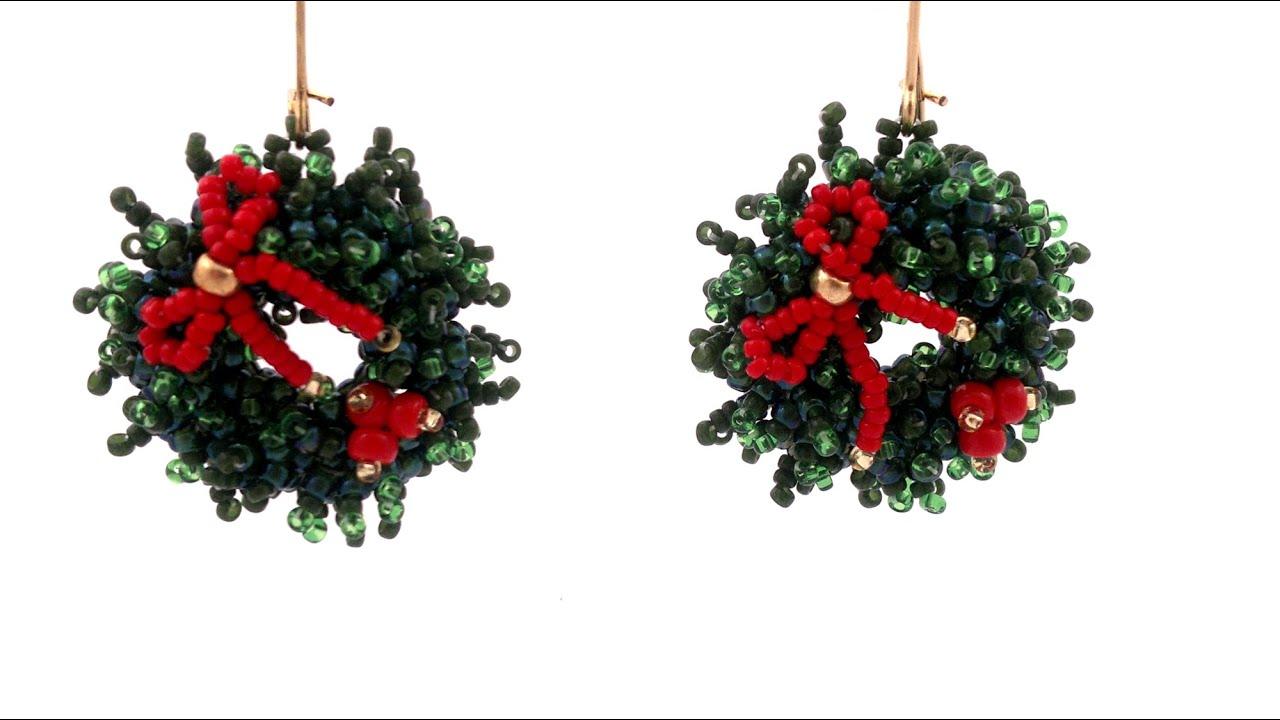 Beading4perfectionists : Christmas Wreath earrings beading tutorial ...