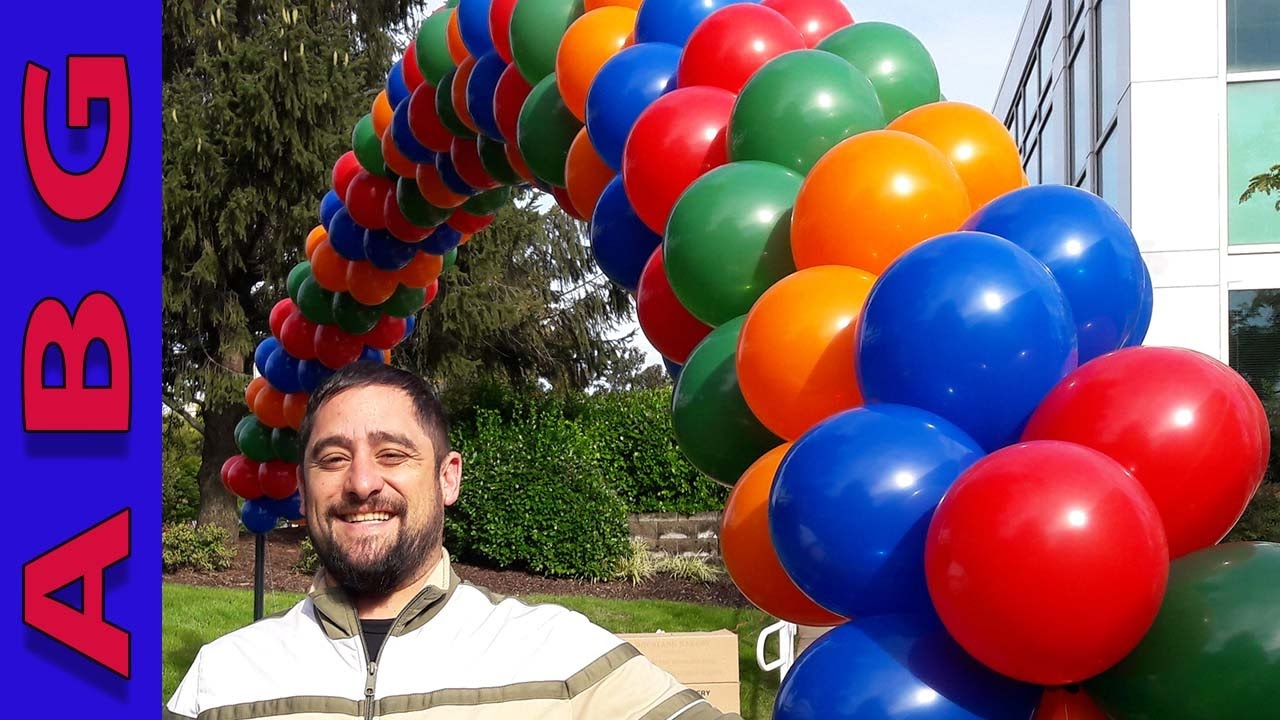 how to make a spiral balloon arch with 4 colors using helium youtube. Black Bedroom Furniture Sets. Home Design Ideas