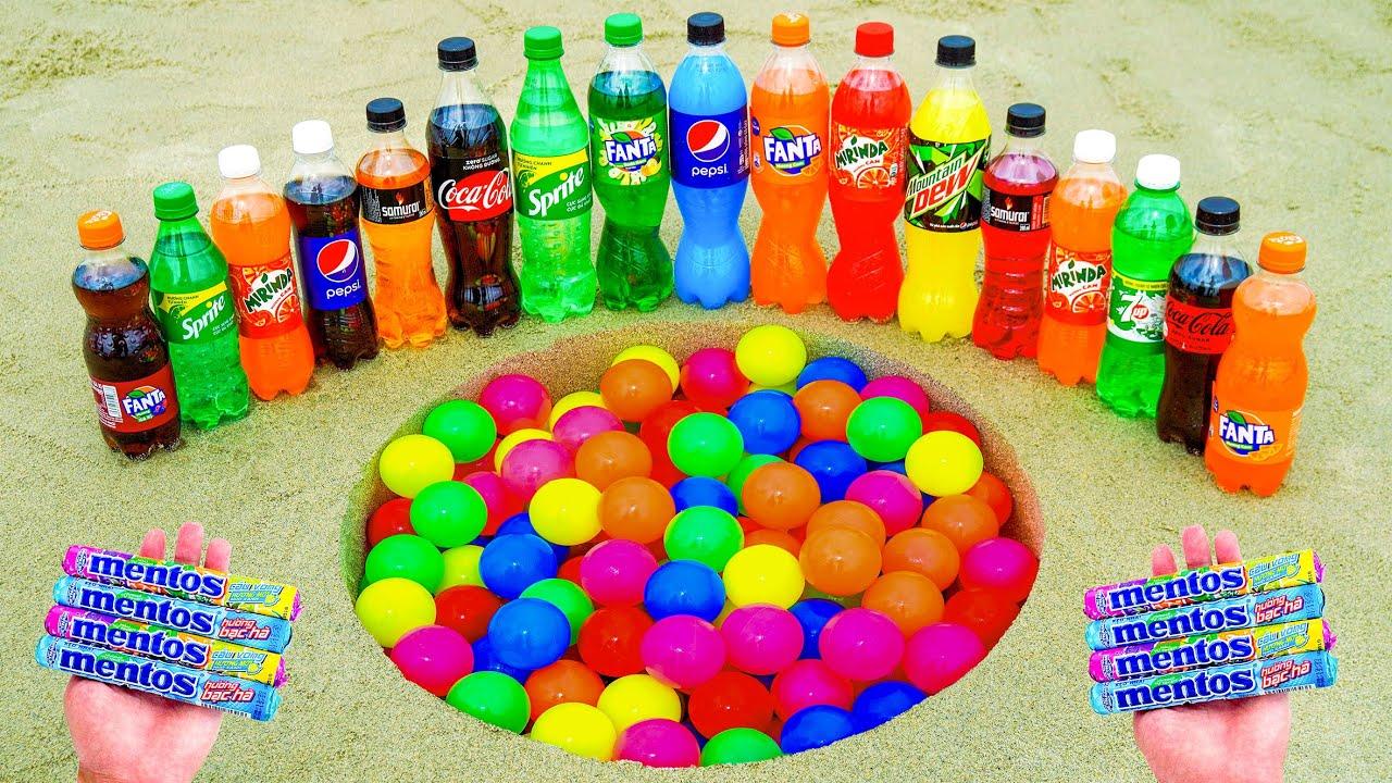 Color Balls vs Coca-Cola, Pepsi, Mirinda, Mtn Dew, Sprite, Fanta and Mentos in Big Hole Underground