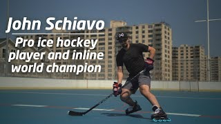 Pro ice hockey player and Inline World Champion, John Schiavo, testing the Marsblade Roller Frame