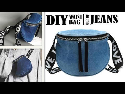 LOVELY DIY JEANS WAIST BAG // Travel Zipper Belt Bag Out of Old Jeans