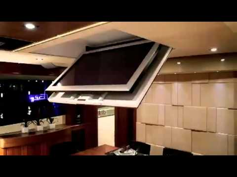 Ceiling flip down tv lift youtube for Motorized flip down tv mount