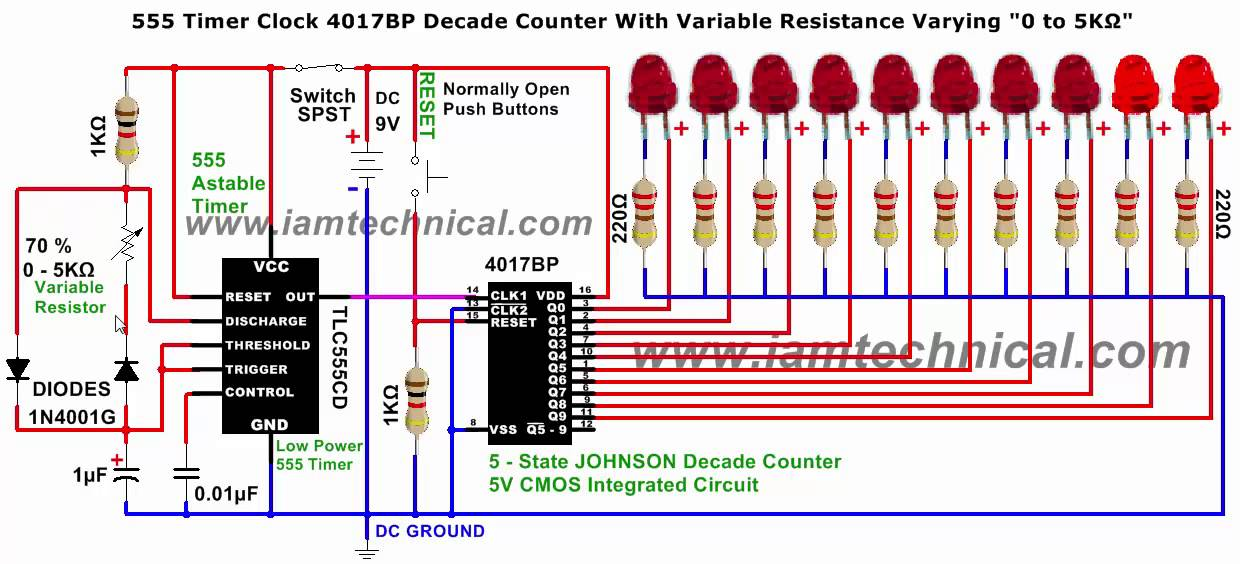 555 Timer Clock Pulses To 4017 Johnson Decade Counter With