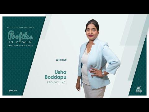 Usha Boddapu, CEO Of Esolvit, Inc.  Winner Of Austin Business Journal's Profiles In Power 2019 Award