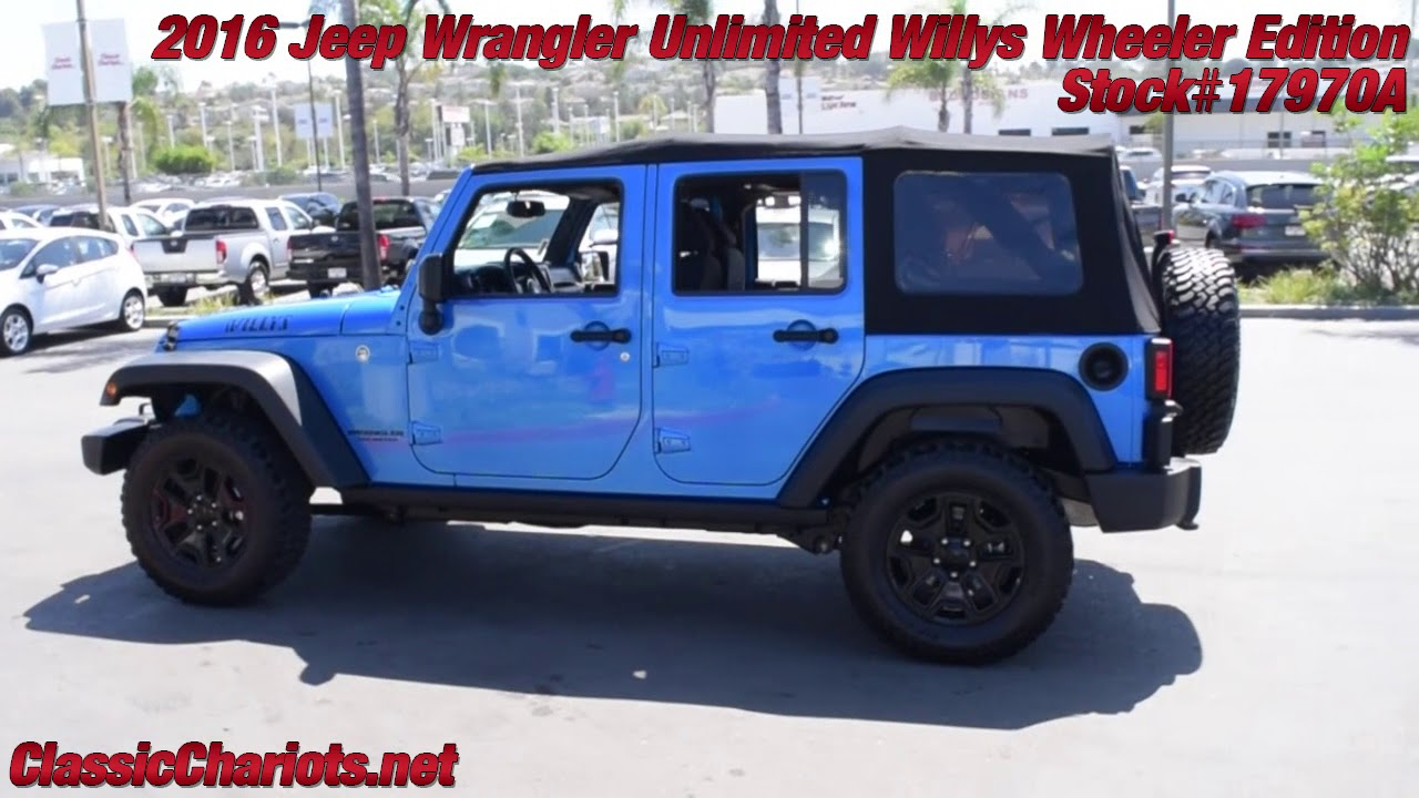 Used 2016 Jeep Wrangler Unlimited Willys Wheeler Edition For Sale In San  Diego   17970A