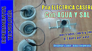Cómo hacer una pila eléctrica con agua y sal. How to make a salt water battery