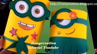 Repeat youtube video Manualidades: Cajitas MINIONS con latas vacías / MINIONS portalápices con goma eva o famy