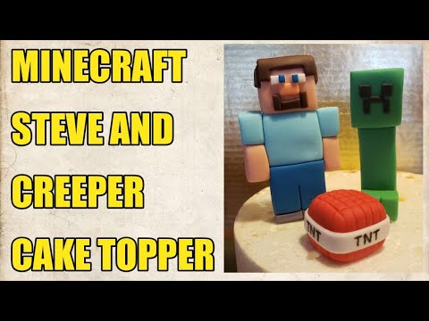 MINECRAFT STEVE AND CREEPER  CAKE TOPPER