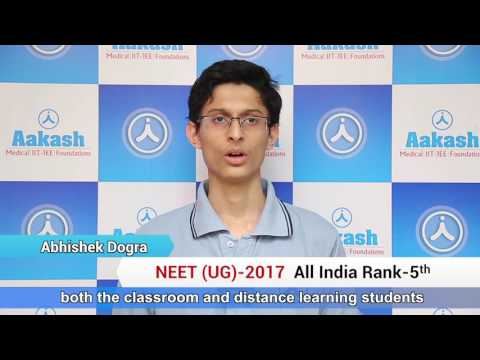 NEET UG 2017 Topper: Abhishek Dogra - AIR 5 | Aakash Institute