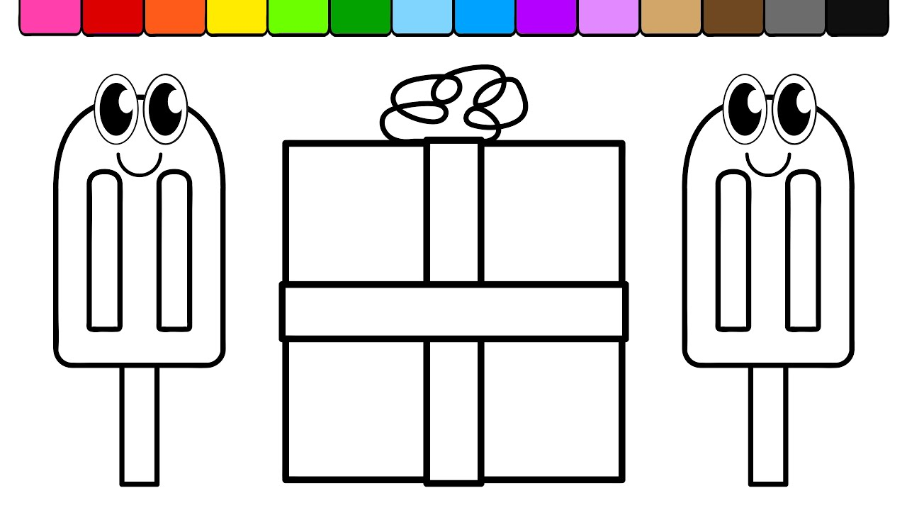 learn colors for kids and color ice cream present coloring page