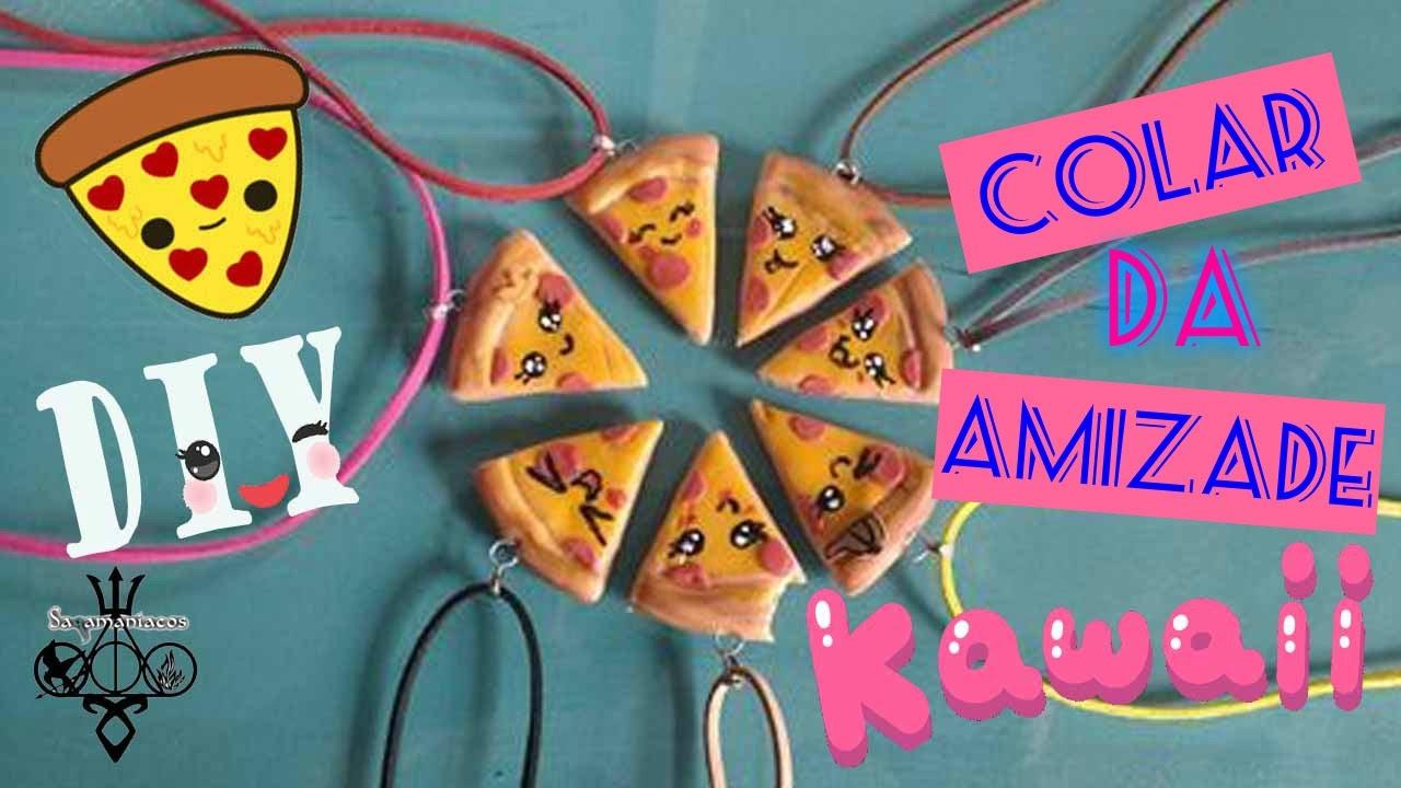 Colar Da Amizade Diferentes: DIY :: Colar Da Amizade :: Mini Pizza KAWAII #veda03