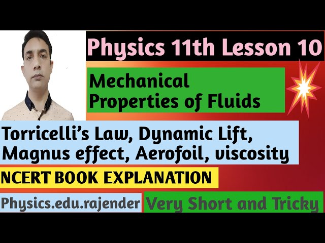 Video 3||Physics 11th Chapter 10 ||Mechanical property of fluids ||