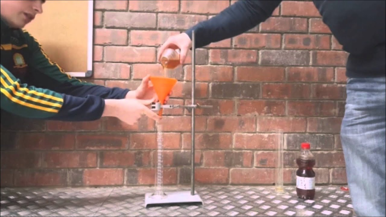 viscosity experiment Viscosity is a property of the fluid which opposes the relative motion between the two surfaces of the  experiment showing the.