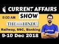 8:00 AM - Daily Current Affairs 9-10 Dec 2018 | UPSC, SSC, RBI, SBI, IBPS, Railway, KVS, Police