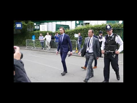 TomHiddleston Arrives At Wimbledon Tennis For Men's Final Day On July 14, 2019 In London.