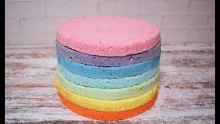 РАДУЖНЫЙ ТОРТ Радужные коржи для торта ПОДРОБНО БИСКВИТ НА БЕЛКАХ RAINBOW CAKE REGENBOGENTORTE