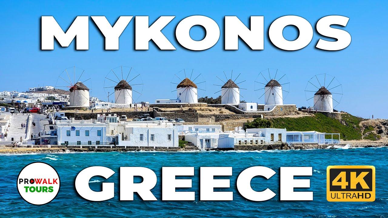 Mykonos, Greece Daytime Walking Tour - 4K - with Captions