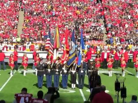 Melissa Etheridge sings The National Anthem at Arrowhead Stadium - Oct 15, 2017 - Kansas City Chiefs