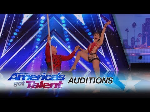 Elena and Sasha: Balancing Duo Takes Their Audition To Towering Heights - America's Got Talent 2017