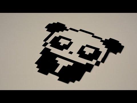 Timelapse Pixel Art Panda Sur Feuille Blanche Youtube