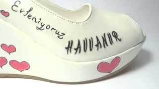 Dolgu topuk Tasarım Gelin Ayakkabısı