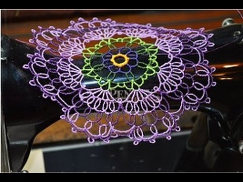Vintage treadle sewing machine:  Creating a beautiful doily using water soluble stabilzer as a base.