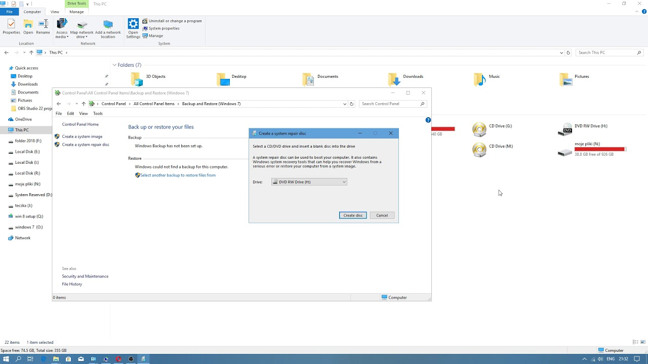 windows system repair disk size