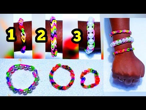 Rubber Band Bracelet !!! Loom Bands Making 3 Types - Easy Diy For Kids - Kani's Craft