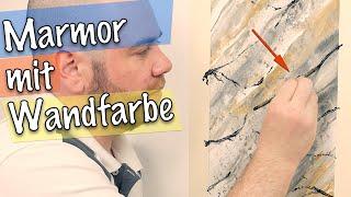 Marmor-Optik mit 2€ Wandfarbe selber machen 😱 Spachteltechnik/Wandgestaltung