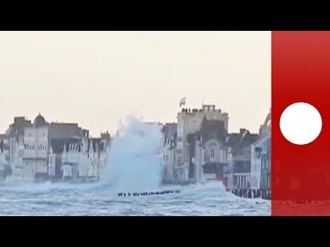 Waves flood streets as ocean's wrath hits Saint-Malo coastline in France