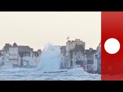 Waves flood streets as ocean's wrath hits Saint-Malo coastline in France