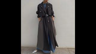Весенне осеннее длинное пальто для женщин черного и хаки в корейском стиле модное офисное женское